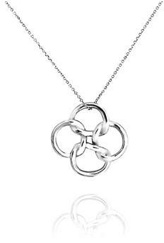 Celtic Bling Jewelry Open Clover Pendant Sterling Silver Necklace 18 Inches.