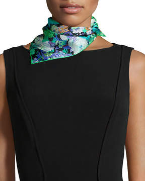 Neiman Marcus St. Piece Demeter Floral-Print Square Scarf, Green
