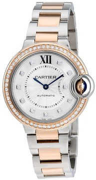 Cartier Ballon Bleu Silver Diamond Dial Steel and Rose Gold Ladies Watch