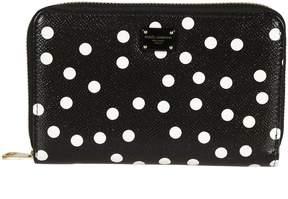 Dolce & Gabbana Polka Dot Zip Around Wallet - BLACK/WHITE - STYLE