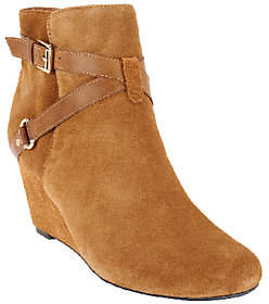 Isaac Mizrahi Live! Suede Ankle Boots withWedge Heel