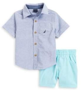 Nautica Baby Boy's Two-Piece Seersucker Shirt & Shorts Set