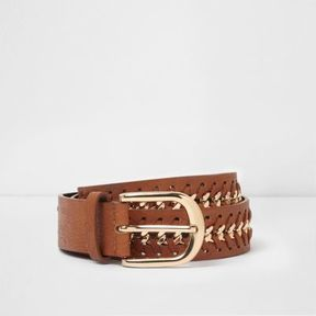 River Island Womens Tan and gold tone plaited buckle belt