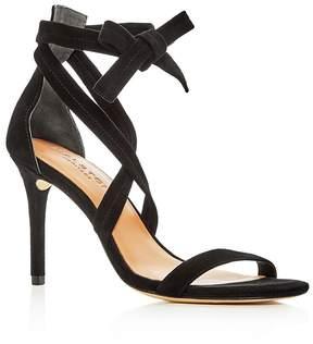 Halston Women's Diana Suede Ankle Tie High Heel Sandals