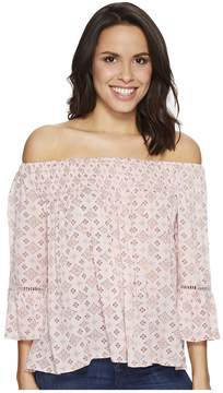 Brigitte Bailey Mae Off the Shoulder Top with Lace Inset Women's Clothing