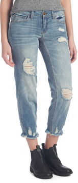 Dollhouse Shady Blue Fray-Hem Straight-Leg Jeans