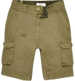 River Island Boys khaki cargo shorts