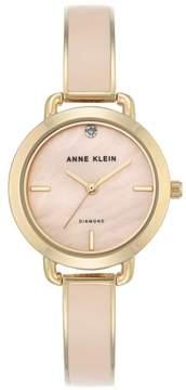 Anne Klein Goldtone Diamond-Accented Dial Light Pink Bracelet Watch
