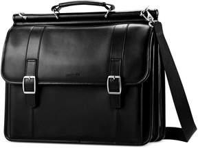 Samsonite Leather Dowel Flapover Laptop Briefcase