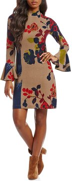 Chelsea & Theodore Flare Sleeve Floral Print Dress