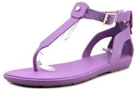 Hunter T-bar Sandal Women Open Toe Synthetic Purple Thong Sandal.