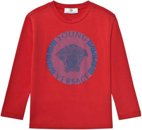 Versace Red and Blue Medusa Long Sleeve Tee