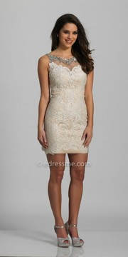 Dave and Johnny Illusion Damask Rhinestone Embellished Fitted Homecoming Dress