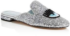 Chiara Ferragni Women's Sabot Embellished Glitter Mules