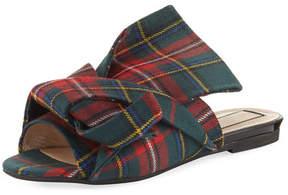 No.21 No. 21 Plaid Wool Flat Mule Sandals, Multi
