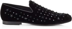 Jimmy Choo SLOANE Black Velvet Slippers with Black Crystals and Stars