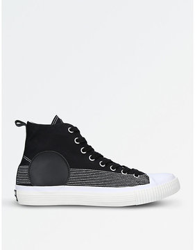 McQ Circle stitched canvas and leather high-top trainers