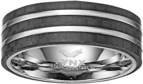 Lynx Men's Striped Stainless Steel & Carbon Fiber Ring