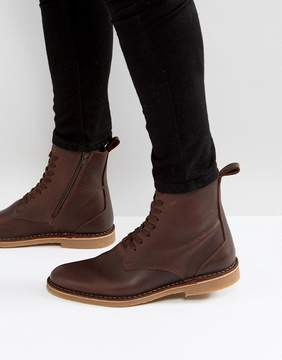 Selected Royce Leather Lace Up Boots In Brown