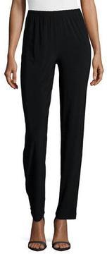 Caroline Rose Satin-Back Crepe Slim Pants, Black