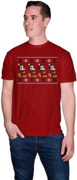 Disney Big & Tall Disney's Mickey Mouse Snowflake Santa Holiday Tee