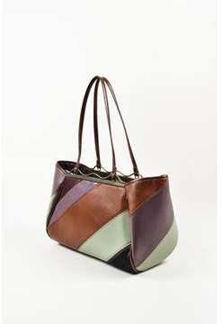 Jamin Puech 1 Purple Brown Green Black Leather Pony Hair Stripe Shoulder Bag