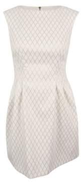 Vince Camuto Women's Diamond-Print Jacquard Fit & Flare Dress (Ivory, 12)