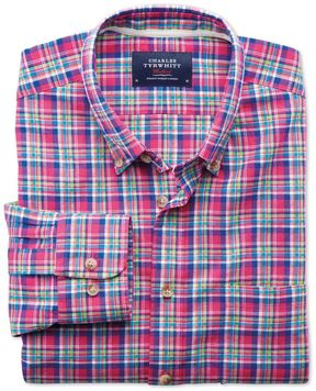 Charles Tyrwhitt Classic Fit Pink and Green Check Cotton Casual Shirt Single Cuff Size Large