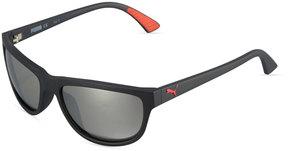 Puma Mirrored Oval Plastic Active Sunglasses, Black