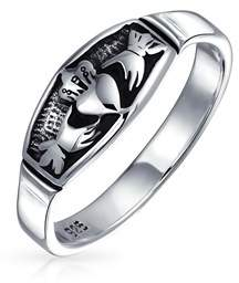 Celtic Bling Jewelry Antiqued Silver Irish Claddagh Heart Promise Ring.