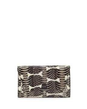 Akris Anouk Mini Python Chain Envelope Clutch Bag, Ivory/Black