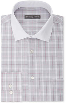 Geoffrey Beene Men's Classic Fit Wrinkle Free Aloe Performance Grey Check Dress Shirt