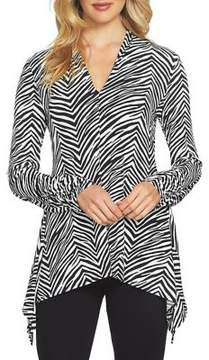 Chaus Ruched Sleeve V-Neck Zebra Top