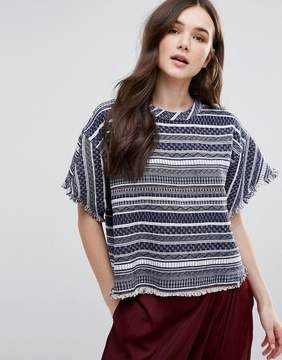 d.RA Brooke Stripe Top With Unfinished Hem