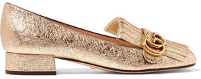 Gucci Marmont Fringed Metallic Cracked-leather Loafers - Gold