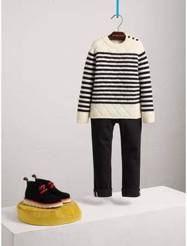 Burberry Quilted Breton Stripe Wool Cashmere Sweater