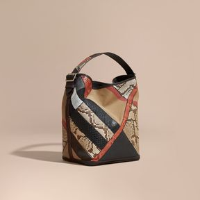 Burberry The Medium Ashby in Patchwork Canvas Check and Python
