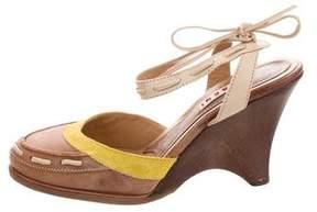 Marni Leather Round-Toe Wedges