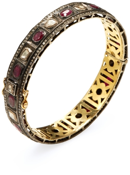 Artisan Women's 18K Gold, Ruby & 3.59 Total Ct. Diamond Bangle Bracelet