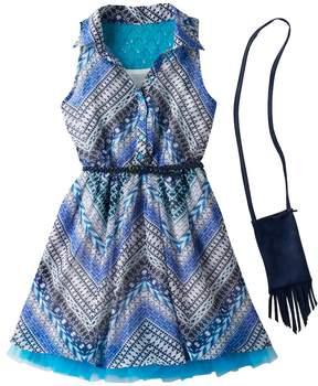 Knitworks Girls 7-16 Belted Halter Shirtdress with Crossbody Purse Set