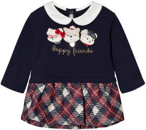 Mayoral Navy Plaid Puppies Applique Dress