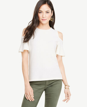 Ann Taylor Stitched Cold Shoulder Sweater