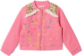 Billieblush Fuchsia Sequin Shoulder Cotton Jacket