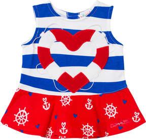 Agatha Ruiz De La Prada Blue Red And White Sailor Print Striped Dress