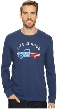 Life is Good Flag Truck Long Sleeve Crusher Tee Men's Long Sleeve Pullover