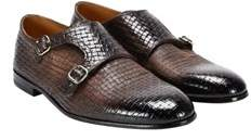 Doucal's Men's Brown Leather Monk Strap Shoes.