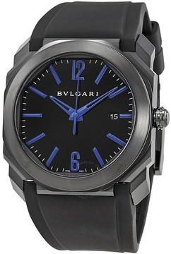 Bvlgari Octo Black Lacquered Polished Dial Black Rubber Strap Men's Watch