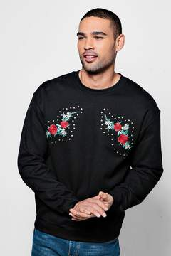 boohoo Crew Neck Sweat With Mirrored Embroidery