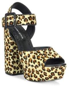 Alice + Olivia Lily Leopard-Print Calf Hair Platform Sandals