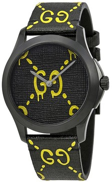 Gucci Ghost G-Timeless Black and Yellow Dial Men's Rubber Watch